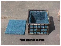 Crate lined with filter material